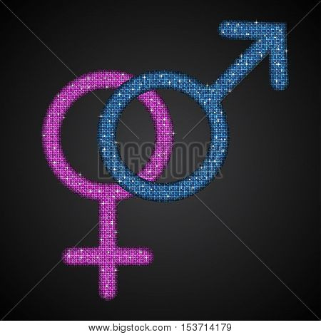 Gender Men and Women Blue Pink Sequins Flat Vector Simple Icon on dark Background. Mosaic, Sequins, Glitter, Sparkle, Stars. Stylish Vector Illustration for Web Design.