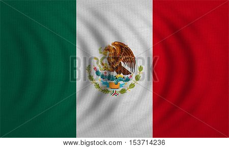 Mexican national official flag. Patriotic symbol banner element background. Correct colors. Flag of Mexico wavy with real detailed fabric texture accurate size illustration