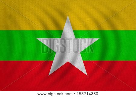 Myanmar national official flag. Patriotic symbol banner element background. Correct colors. Flag of Myanmar wavy with real detailed fabric texture accurate size illustration