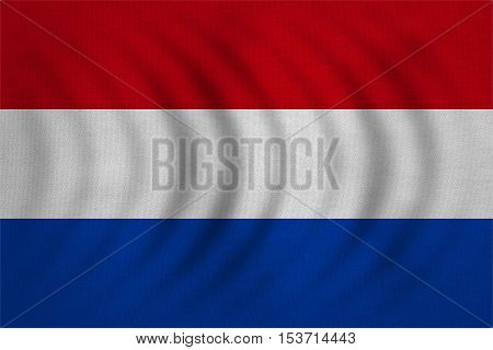 Netherlands national official flag. Patriotic symbol banner element background. Correct colors. Flag of the Netherlands wavy with real detailed fabric texture accurate size illustration