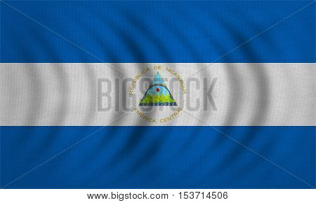 Nicaraguan national official flag. Patriotic symbol banner element background. Correct colors. Flag of Nicaragua wavy with real detailed fabric texture accurate size illustration