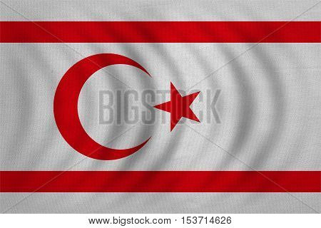 Northern Cyprus national official flag. TRNC patriotic symbol banner element background. Correct colors. Flag of Turkish Republic of Northern Cyprus wavy fabric texture accurate size illustration