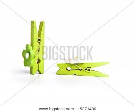 Green wooden clothespeg