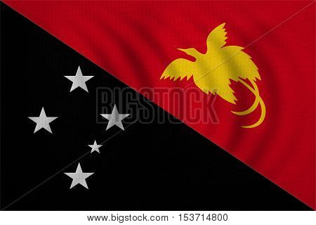 Papua New Guinean national official flag. Papuan patriotic symbol banner element background. Correct colors. Flag of Papua New Guinea wavy real detailed fabric texture accurate size illustration