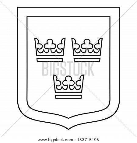 Coat of arms of Sweden icon. Outline illustration of coat of arms of Sweden vector icon for web