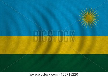 Rwandan national official flag. African patriotic symbol banner element background. Correct colors. Flag of Rwanda wavy with real detailed fabric texture accurate size illustration