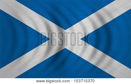 Scottish national official flag. Patriotic symbol banner element background. Correct colors. Flag of Scotland wavy with real detailed fabric texture accurate size illustration