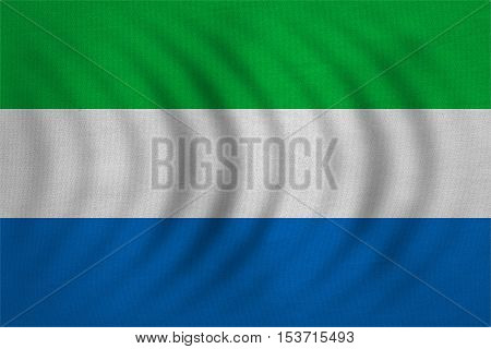 Sierra Leonean national official flag. African patriotic symbol banner element background. Correct colors. Flag of Sierra Leone wavy with real detailed fabric texture accurate size illustration