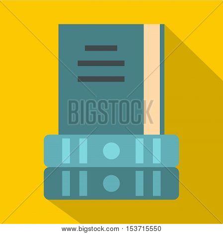 Three books icon. Flat illustration of three books vector icon for web