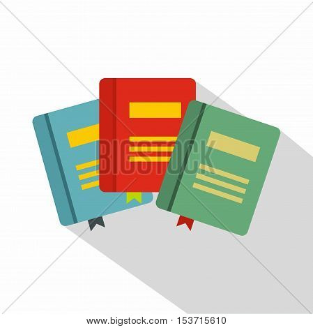 Three books with bookmarks icon. Flat illustration of three books with bookmarks vector icon for web