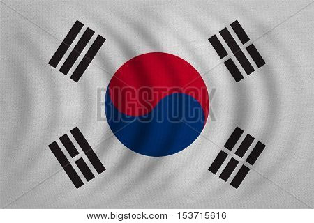 South Korean national official flag. Patriotic symbol banner element background. Correct colors. Flag of South Korea wavy with real detailed fabric texture accurate size illustration