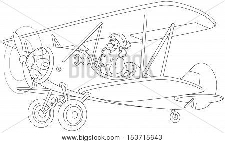 Black and white vector illustration of Santa Claus piloting his old wood airplane