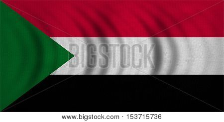 Sudanese national official flag. African patriotic symbol banner element background. Correct colors. Flag of Sudan wavy with real detailed fabric texture accurate size illustration