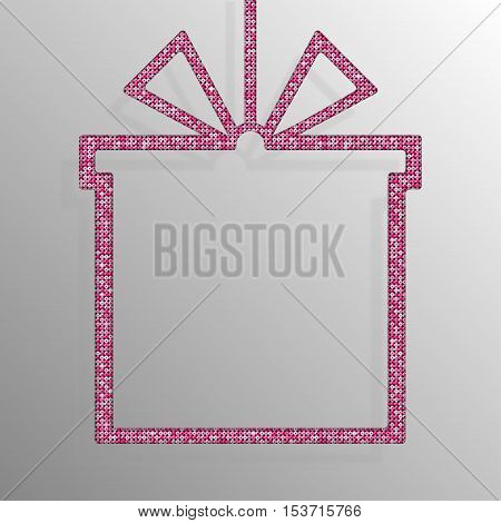 Frame made of Pink sequins in the form gift box. Mosaic sequins glitter sparkle stars.