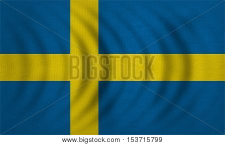 Swedish national official flag. Patriotic symbol banner element background. Correct colors. Flag of Sweden wavy with real detailed fabric texture accurate size illustration