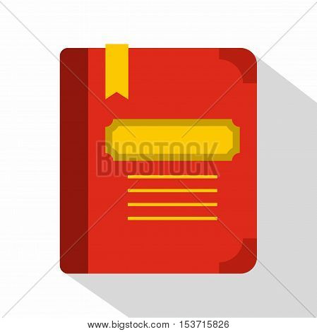 Tutorial with bookmark icon. Flat illustration of tutorial with bookmark vector icon for web