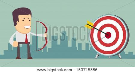 Businessman aiming target. Concept business vector illustration.