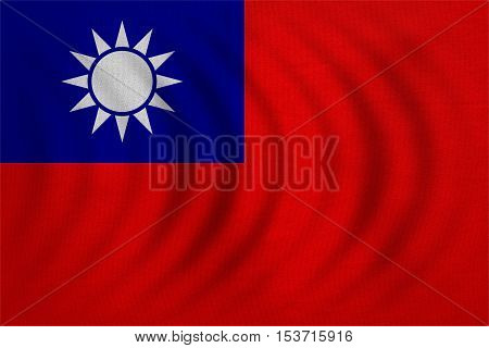 Taiwan national official flag. Patriotic ROC symbol banner element background. Correct colors. Flag of the Republic of China wavy with real detailed fabric texture accurate size illustration