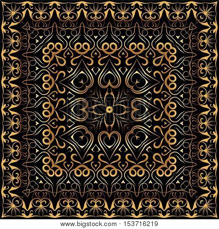 Ornament for scarf with gold pattern on black background. You can use for carpet, shawl, pillow, cushion. Vector illustration.