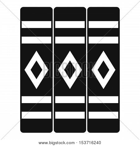 Three literary books icon. Simple illustration of three literary books vector icon for web