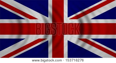 British national official flag. Patriotic UK symbol. Great Britain banner element background. Correct colors. Flag of the United Kingdom wavy real detailed fabric texture accurate size illustration
