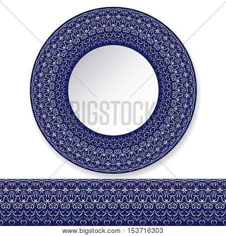 Decorative plate with white pattern on blue background. Vector illustration.