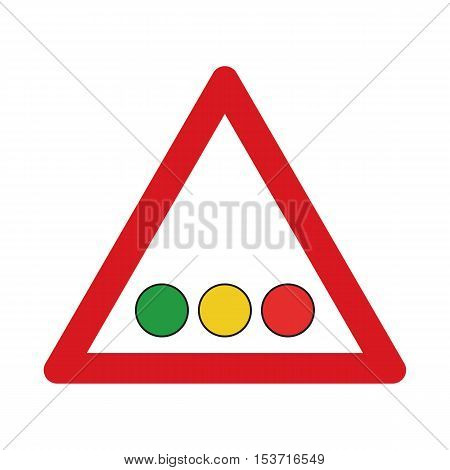 Traffic sign confrontation on traffic lights. Vector illustration.
