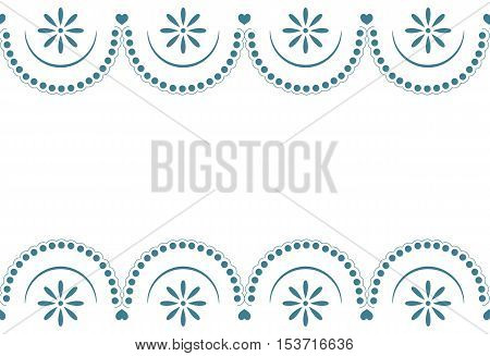 Seamless sample a border with a blue pattern lace on a white background. Vector illustration. It can be used as a background for the websites, packing, fabrics