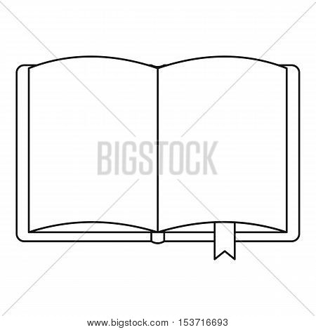 Open book with bookmark icon. Outline illustration of open book with bookmark vector icon for web
