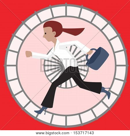 woman in hamster wheel - funny cartoon vector illustration