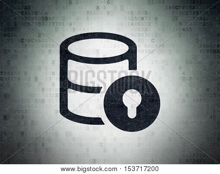 Database concept: Painted black Database With Lock icon on Digital Data Paper background