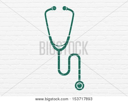 Medicine concept: Painted green Stethoscope icon on White Brick wall background