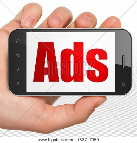 Advertising concept: Hand Holding Smartphone with red text Ads on display, 3D rendering