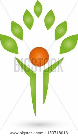 A person and leaves, human, naturopath and nature logo