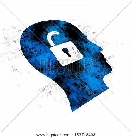 Finance concept: Pixelated blue Head With Padlock icon on Digital background