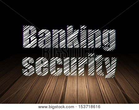 Security concept: Glowing text Banking Security in grunge dark room with Wooden Floor, black background