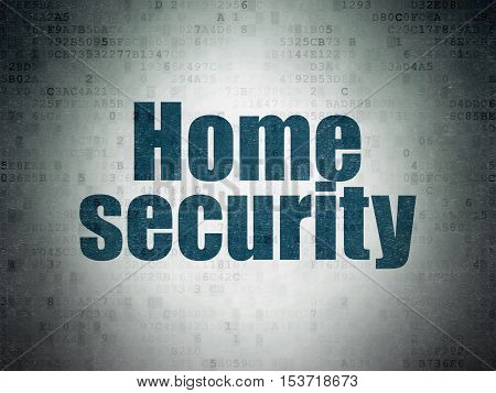 Privacy concept: Painted blue word Home Security on Digital Data Paper background