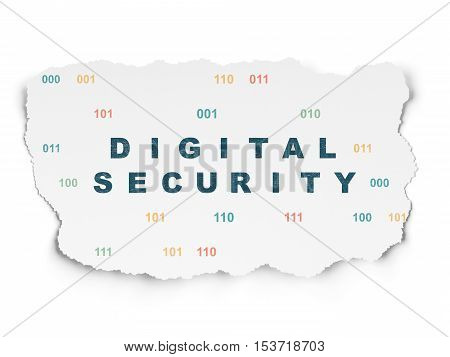 Privacy concept: Painted blue text Digital Security on Torn Paper background with  Binary Code