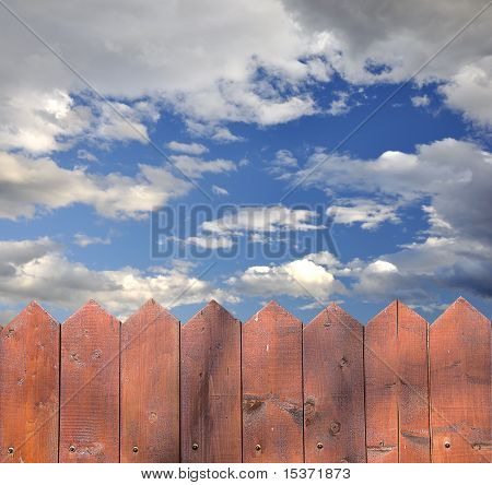 Wooden Fence And A Beautiful Sky