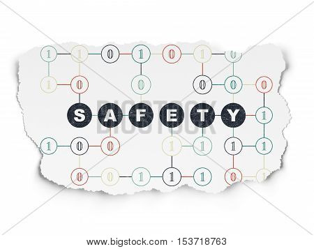 Protection concept: Painted black text Safety on Torn Paper background with Scheme Of Binary Code