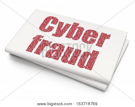 Protection concept: Pixelated red text Cyber Fraud on Blank Newspaper background, 3D rendering