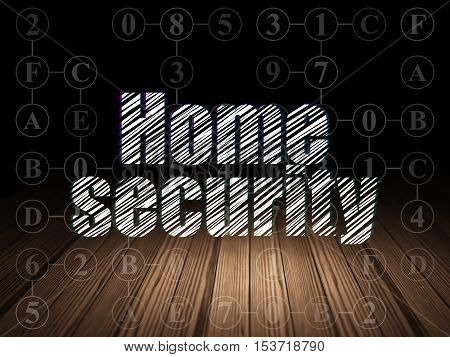 Safety concept: Glowing text Home Security in grunge dark room with Wooden Floor, black background with Scheme Of Hexadecimal Code