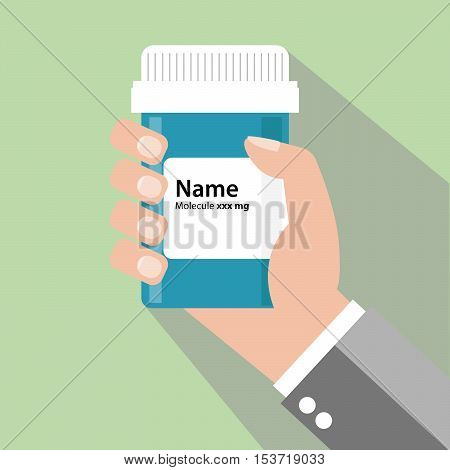 Vector Illustration of a male hand holding a medicine bottle of pills