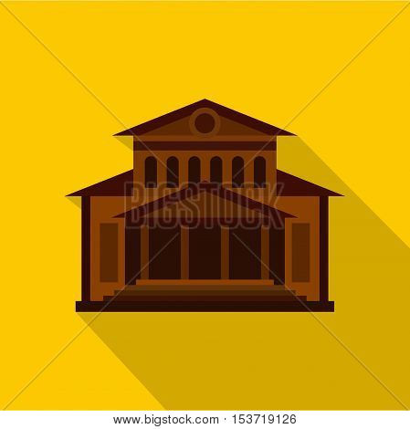 Theater building icon. Flat illustration of theater building vector icon for web