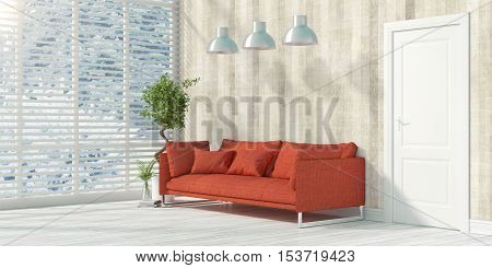 Beautiful modern interior with sofa. 3D rendering