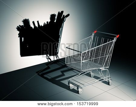 Empty Shopping Cart Cast Shadow On The Wall As Full Shopping Cart. 3D Illustration.