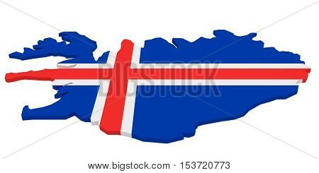 3d Illustration of Iceland Map With Icelandic Flag Isolated On White Background