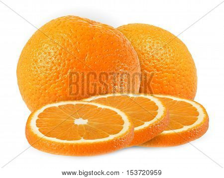whole and cut orange fruits isolated on white background with clipping path