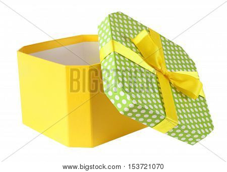 gift box with open lid and bow isolated on white background with clipping path