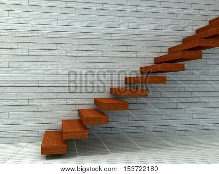 Conceptual 3D illustration stair steps near a wall with floor background of stone or concrete and wood